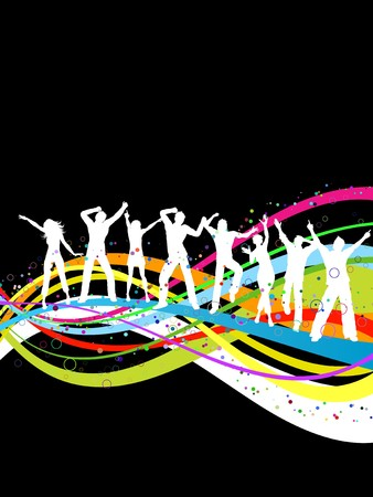 Silhouettes of people dancing on a rainbow coloured abstract background Stock Photo - 6847773