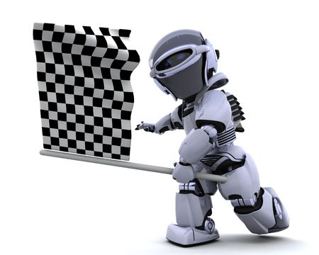 chequered flag: 3D render of a Robot waving chequered flag