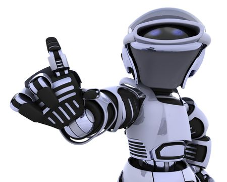 introducing: 3D render of a robot introducing or presenting