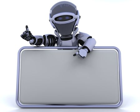 3D render of a robot and blank sign Stock Photo - 6931247