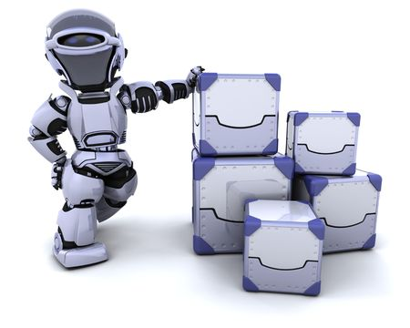 3D render of a robot moving shipping boxes Stock Photo - 6931311