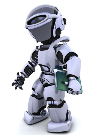 3D render of robot with document and folder Stock Photo - 6931271