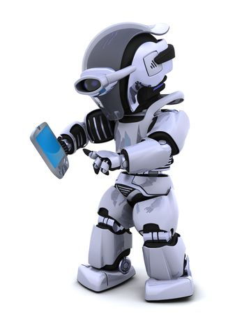 3D render of a robot character witha a palm pilot photo