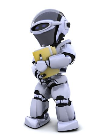 3D render of robot with document and folder Stock Photo - 6931262