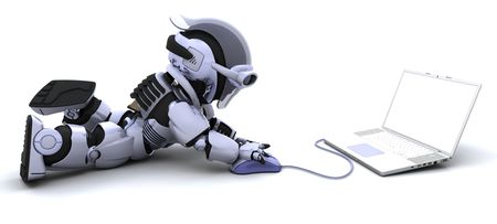 3d mouse: 3D render of robot with a laptop and mouse