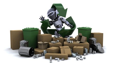 3D render of a robot with trash photo