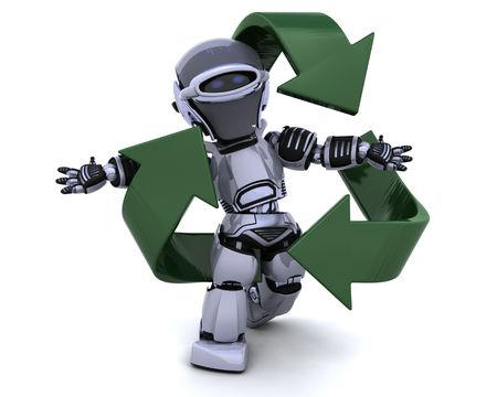3D render of a robot and recycle sign photo