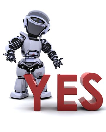 3D render of a robot with a yes sign photo