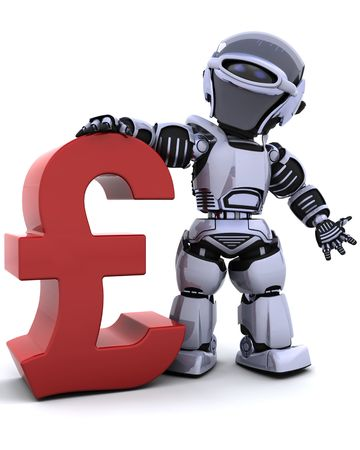 3d render of a robot with a pound symbol Stock Photo - 6931277