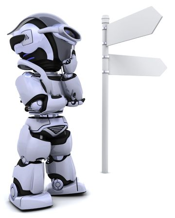 3D render of a robot at a signpost Stock Photo - 6931265