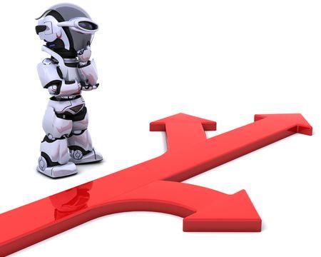 3D render eines Roboters mit Pfeilsymbol