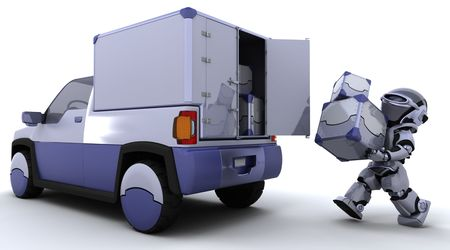 3D render of robot loading boxes into the back of a truck Stock Photo - 6931308