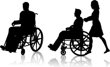 wheelchair man: Silhouette of a man in a wheelchair and one with a woman pushing him