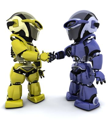 3d Render of robots making a deal Stock Photo - 6931331