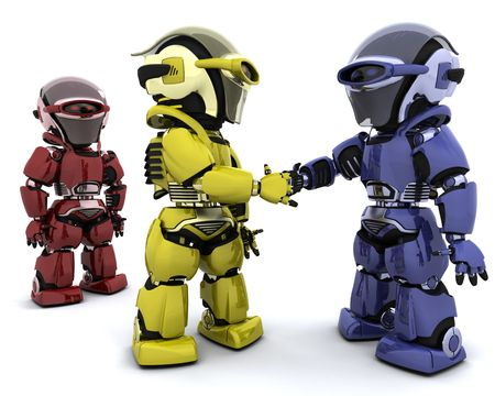 technology deal: 3d Render of robots making a deal