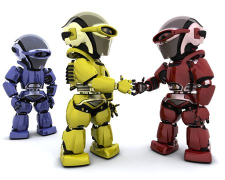coalition: 3d Render of robots making a deal
