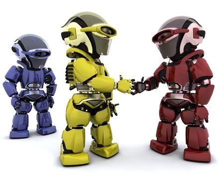 3D Render von Robotern, die ein Geschäft