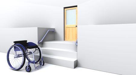 disable: 3d render of a wheelchair in front of steps to a door