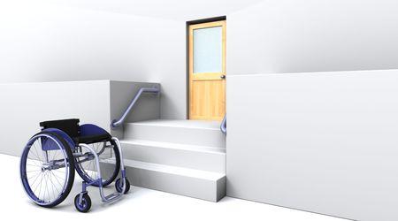 paraplegic: procesamiento 3D de una silla de ruedas en frente de pasos a una puerta