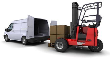 3d render of forklift truck loading a van Stock Photo - 6958810