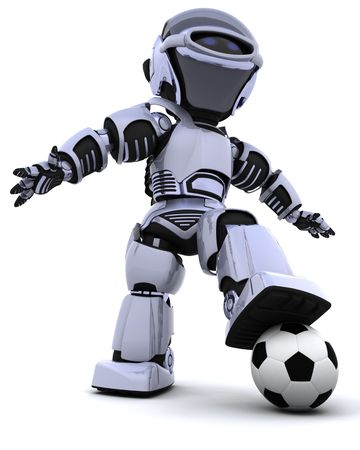 3D render of a robot playing soccer Stock Photo - 6958806
