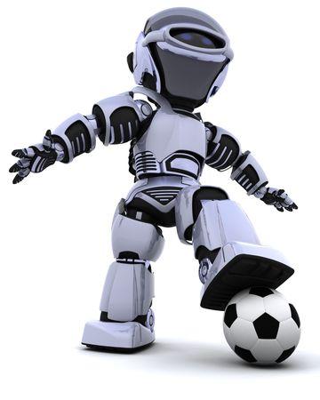 robot: 3D render of a robot playing soccer