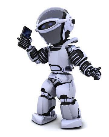 3D render of a robot character witha a smart phone Stock Photo - 6958798