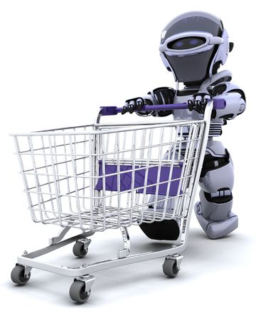3D render of a robot shopping with a cart Stock Photo - 6958812