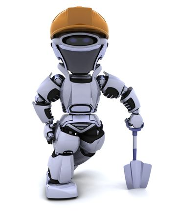 render: 3D render of a construction robot with spade