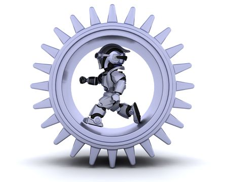 3d Render of robots with gear mechanism Stock Photo - 6958807