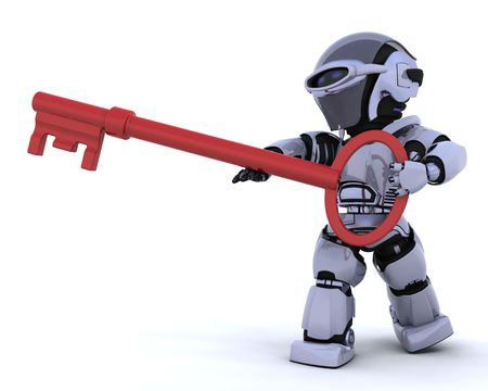 3D render einen Roboter, die eine Taste gedrückt halten