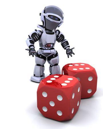 die: 3D render of robot rolling casino dice Stock Photo