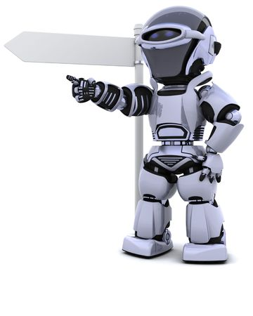 3D render of a robot at a signpost Stock Photo - 6958788