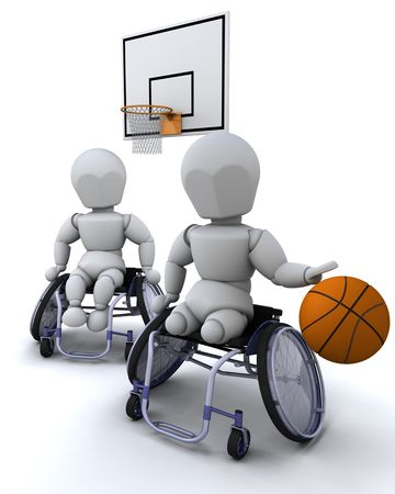3D render of men in wheelchairs playing basket ball photo