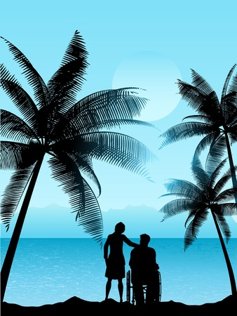 Silhouette of a man in a wheelchair with a woman in a tropical landscape