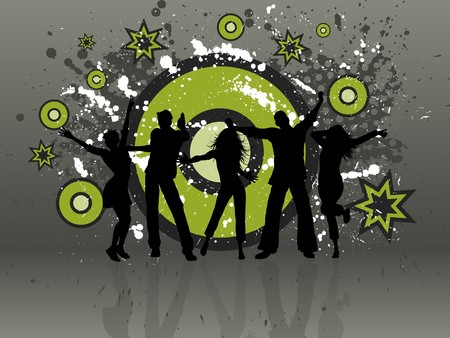 Silhouettes of people dancing on a grunge background Stock Photo - 7004725