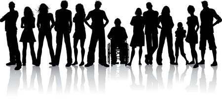 discapacidad: Silhoeutte de una gran multitud de personas