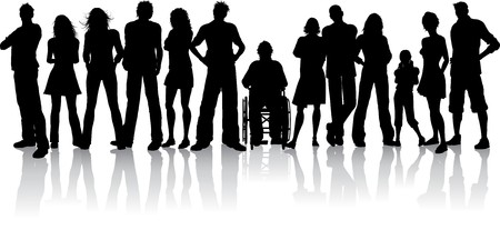 handicapped person: Silhoeutte of a huge crowd of people