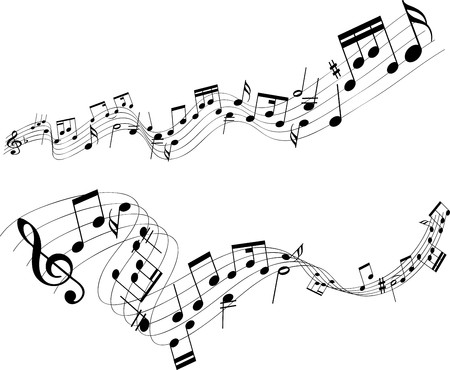 music notes: Abstract designs of music notes on a white background