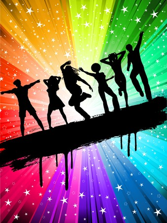 Silhouettes of people dancing on a starry multi coloured background Stock Photo - 7004736