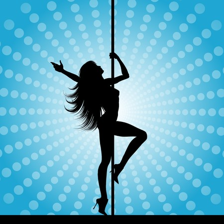 female stripper: Silhouette of a sexy pole dancer