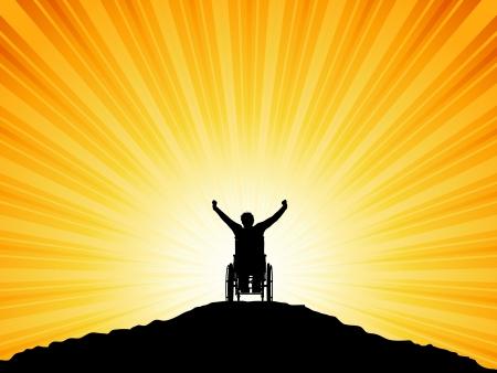 persona en silla de ruedas: Silueta de un hombre en silla de ruedas con sus brazos alzados en �xito