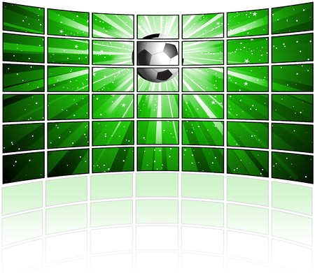 Wall of tv screens with a football image photo