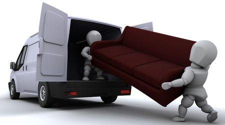 removal van: 3D render of removal men loading a van