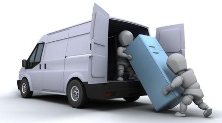 3D render of removal men loading a van