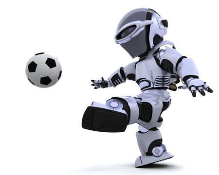 3D render of a robot playing soccer Stock Photo - 7046657