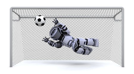 3D render of a robot playing soccer Stock Photo - 7046678