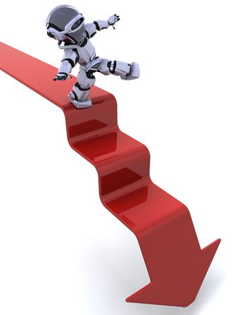 3D render of a robot on a graph Stock Photo - 7046665