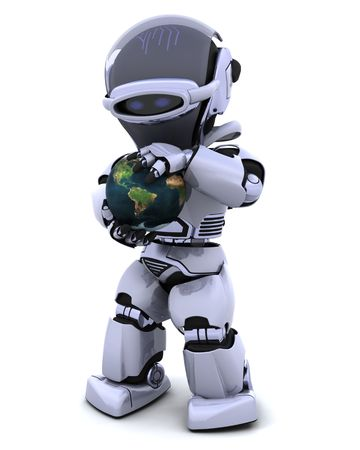 3D Render of a man protecting a globe Stock Photo - 7046658