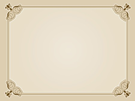Decorative blank certificate design in sepia tones